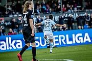 FODBOLD: Adnan Mohammad (FC Helsingør) jubler efter scoringen til 1-0 under kampen i ALKA Superligaen mellem FC Helsingør og Silkeborg IF den 28. oktober 2017 på Helsingør Stadion. Foto: Claus Birch