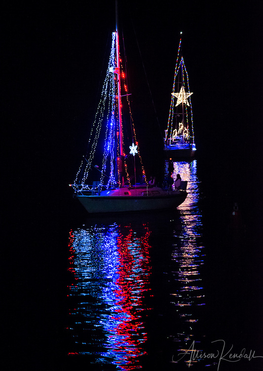 Scenes from the Monterey Harbor Holiday Lighted Boat Parade