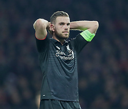 MANCHESTER, ENGLAND - Wednesday, March 16, 2016: Liverpool's captain Jordan Henderson  missing a chance against Manchester United during the UEFA Europa League Round of 16 2nd Leg match at Old Trafford. (Pic by David Rawcliffe/Propaganda)