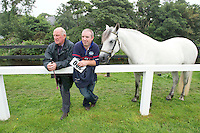 15/08/2013.Sean Cooney from Tullamore and Richie Middleton  from Birr Co. Offaly with Wyncroft Hero at the 90th Connemara Pony show in Clifden Co. Galway. Photo:Andrew Downes