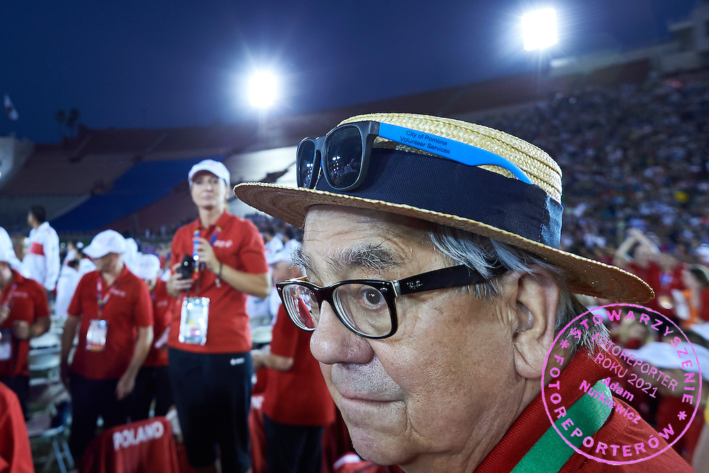 Polish doctor in double glasses during opening ceremony of the Special Olympics World Games Los Angeles 2015 at the Los Angeles Coliseum Stadium on July 25, 2015 in Los Angeles, USA.<br /> USA, Los Angeles, July 25, 2015<br /> <br /> Picture also available in RAW (NEF) or TIFF format on special request.<br /> <br /> For editorial use only. Any commercial or promotional use requires permission.<br /> <br /> Adam Nurkiewicz declares that he has no rights to the image of people at the photographs of his authorship.<br /> <br /> Mandatory credit:<br /> Photo by &copy; Adam Nurkiewicz / Mediasport