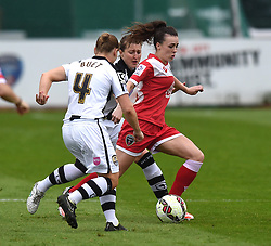 Bristol Academy's Georgia Evans in action during the FA Women's Super League match between Bristol Academy Women and Notts County Ladies FC at Stoke Gifford Stadium on 25 April 2015 in Bristol, England - Photo mandatory by-line: Paul Knight/JMP - Mobile: 07966 386802 - 25/04/2015 - SPORT - Football - Bristol - Stoke Gifford Stadium - Bristol Academy Women v Notts County Ladies FC - FA Women's Super League