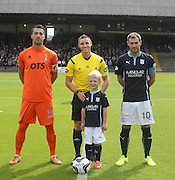 Mascot Cameron Irvine is pictured with Kilmarnock and Dundee captains Manuel Pascali and Kevin Thomson and Steven McLean. Cameron's grandad Andy Irvine played for Dundee from 1946 to 1957 before moving to Falkikr where he was part of the team that defeated Killie in the Scottish Cup Final - Dundee v Kilmarnock - SPFL Premiership at Dens Park<br /> <br />  - &copy; David Young - www.davidyoungphoto.co.uk - email: davidyoungphoto@gmail.com
