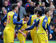 Arsenal's Santi Cazorla celebrates scoring his sides opening goal as Olivier Giroud holds his face<br /> <br /> Barclays Premier League - Crystal Palace  vs Arsenal  - Selhurst Park - England - 21st February 2015 - Picture David Klein/Sportimage