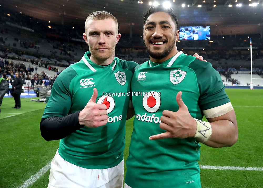 NatWest 6 Nations Championship Round 1, Stade de France, Paris, France 3/2/2018<br /> France vs Ireland<br /> Ireland's Keith Earls and Bundee Aki celebrate after the game<br /> Mandatory Credit &copy;INPHO/Dan Sheridan
