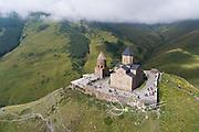 Aerial view of Gergeti Trinity Church in Kazbegi, Georgia.