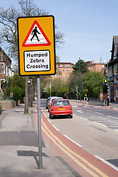 Sign for humped zebra crossing,
