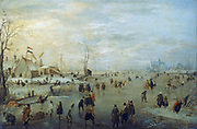 Winter landscape. Recreation on the ice. Hendrik Avercamp (1585-1634) Dutch artist.