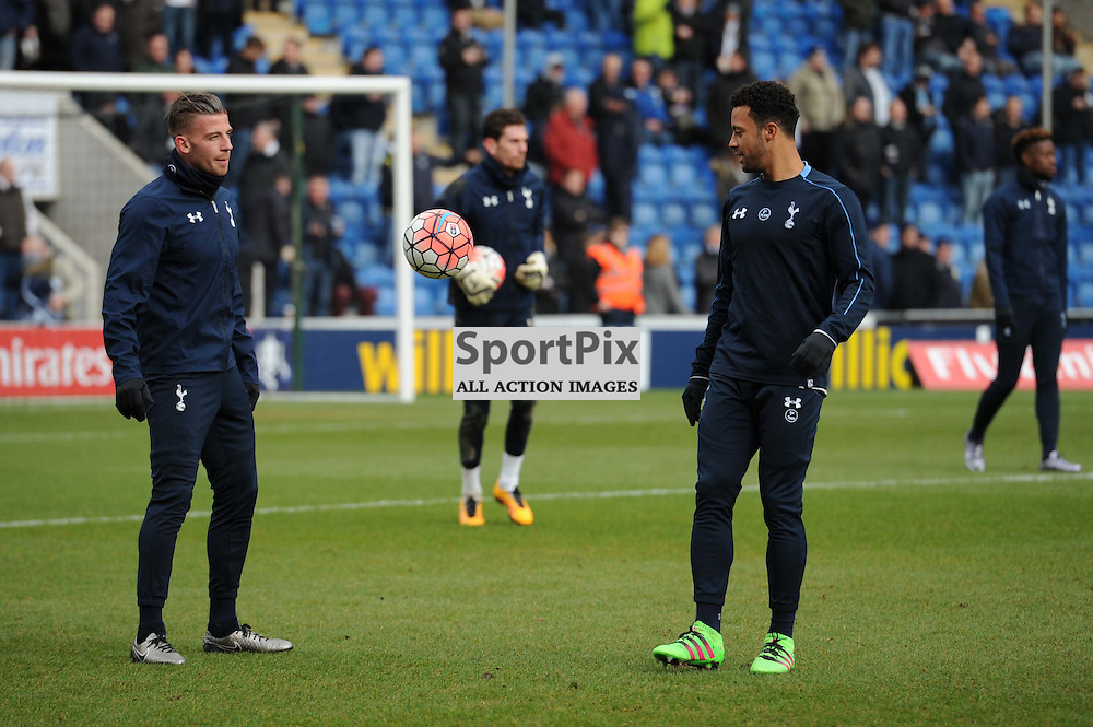 Tottenhams Toby Alderweireld (L)  and Mousa Dembelle (R) during the prematch warm up to the Colchester v Tottenham game in the FA Cup 4th Round on the 30th January 2016.