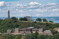 View of historic Calton Hill in Edinburgh Scotland , United Kingdom