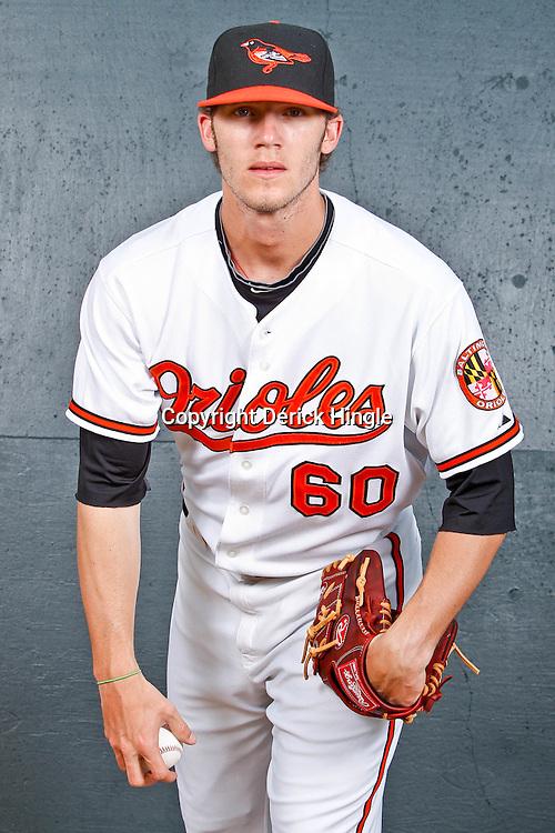 February 26, 2011; Sarasota, FL, USA; Baltimore Orioles starting pitcher Brandon Erbe (60) poses during photo day at Ed Smith Stadium.  Mandatory Credit: Derick E. Hingle
