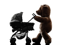 one teddy bear prams baby walking silhouette on white background