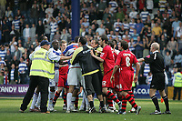 Photo: Lee Earle.<br /> Queens Park Rangers v Cardiff City. Coca Cola Championship. 21/04/2007.The players square up to each other at the end of the game.