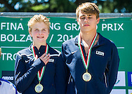 Podium Team USA gold medal<br /> Bolzano, Italy <br /> 22nd FINA Diving Grand Prix 2016 Trofeo Unipol<br /> Diving<br /> MIXED 10m synchronised platform final <br /> Day 03 17-07-2016<br /> Photo Giorgio Perottino/Deepbluemedia/Insidefoto
