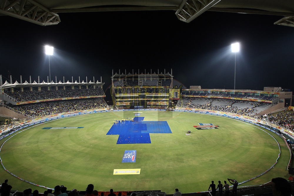 General view as rain delays the start during match 21 of the Pepsi Indian Premier League Season 2014 between the Chennai Superkings and the Kolkata Knight Riders  held at the JSCA International Cricket Stadium, Ranch, India on the 2nd May  2014<br /> <br /> Photo by Shaun Roy / IPL / SPORTZPICS<br /> <br /> <br /> <br /> Image use subject to terms and conditions which can be found here:  http://sportzpics.photoshelter.com/gallery/Pepsi-IPL-Image-terms-and-conditions/G00004VW1IVJ.gB0/C0000TScjhBM6ikg