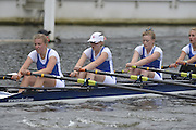 Henley, GREAT BRITAIN. Junior Women's Quadruple Scull. Canford School, leading, Tideway Scullers' School. in their Friday heat. 2012 Henley Royal Regatta. ..Friday  12:18:52  29/06/2012. [Mandatory Credit, Peter Spurrier/Intersport-images]...Rowing Courses, Henley Reach, Henley, ENGLAND . HRR.