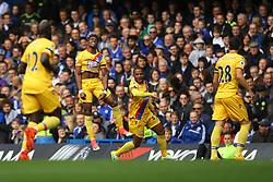 Goal, Wilfried Zaha of Crystal Palace scores, Chelsea 1-1 Crystal Palace - Mandatory by-line: Jason Brown/JMP - 01/04/2017 - FOOTBALL - Stamford Bridge - London, England - Chelsea v Crystal Palace - Premier League