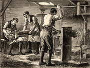 Scutching or dressing flax by beating the stalks by hand. The long fibres of the stem Flax plant (Linum) were processed to produce linen.  Engraving from 'Great Industries of Great Britain' (London, c1880).