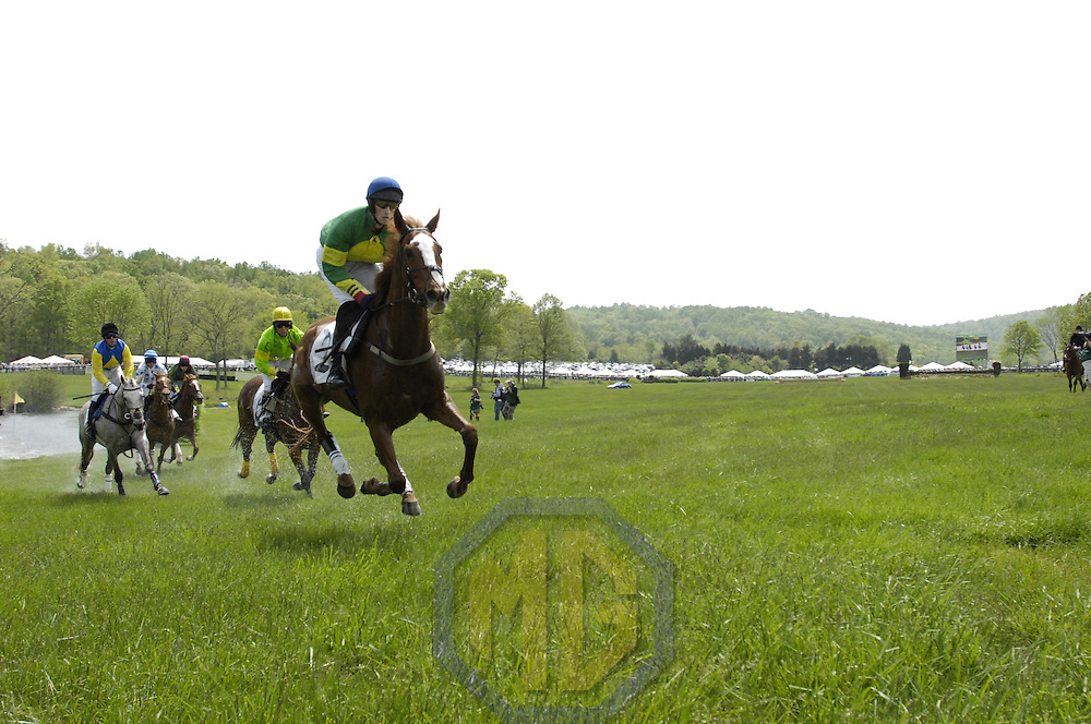 03 May 2008:  Paddy Young aboard Hidden Key (R) leads James Slater aboard Kilbreena (L) and the other horses as they make turn after running through the water in the 2nd race of the 83rd running of the Virginia Gold Cup Races on October 20, 2007 at the Great Meadow in The Plains, Va..
