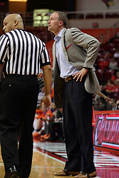 21 November 2015: Ed Crenshaw walks past Dan Muller. Illinois State Redbirds host the Houston Baptist Huskies at Redbird Arena in Normal Illinois (Photo by Alan Look)