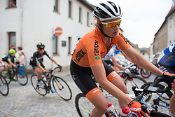 Roxanne Knetemann (NED) of Team Netherlands leans into a corner in Auma in the first lap of Stage 2 of the Lotto Thuringen Ladies Tour - a 102.9 km road race, starting and finishing in Dortendorf on July 14, 2017, in Thuringen, Germany. (Photo by Balint Hamvas/Velofocus.com)