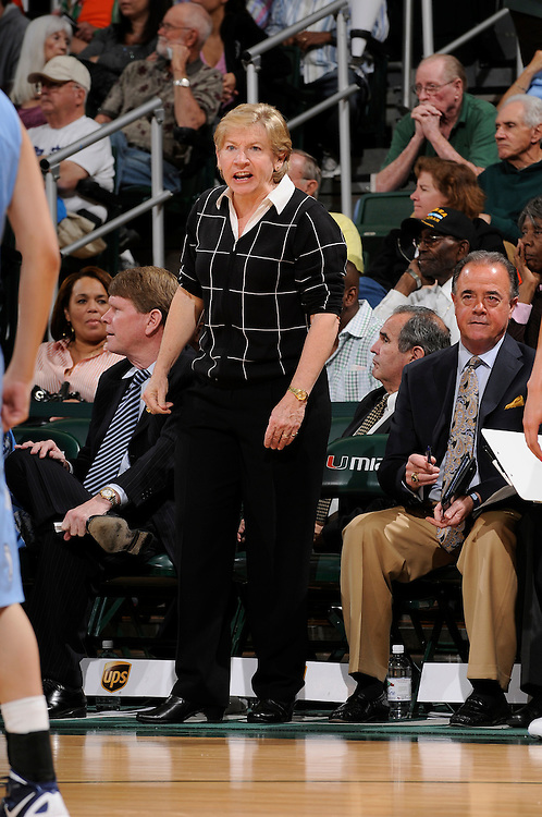 February 8, 2012: Head coach Sylvia Hatchell of North Carolina in action during the NCAA basketball game between the Miami Hurricanes and the North Carolina Tar Heels at the Bank United Center in Coral Gables, FL. The Hurricanes defeated the Tar Heels 61-37.