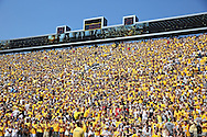 August 31 2013: Fans of the Iowa Hawkeyes cheer in the north end zone seating before the start of the NCAA football game between the Northern Illinois Huskies and the Iowa Hawkeyes at Kinnick Stadium in Iowa City, Iowa on August 31, 2013. Northern Illinois defeated Iowa 30-27.
