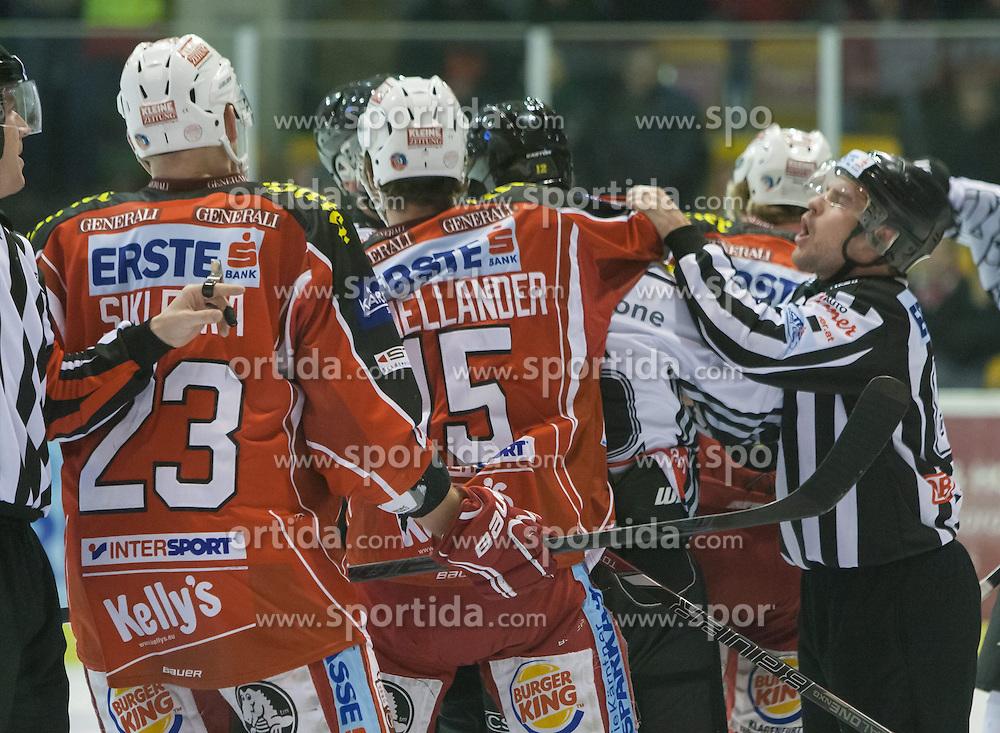 08.12.2013, Stadthalle, Klagenfurt, AUT, EBEL, KAC vs die Dornbirner, 49. Runde, im Bild Mike Siklenka (Kac, #23), Paul Schellander (Kac, #15)<br />  // during the Erste Bank Icehockey League 49th Round match betweeen EC KAC and die Dornbirner at the City Hall, Klagenfurt, Austria on 2013/12/08. EXPA Pictures &copy; 2013, PhotoCredit: EXPA/ Gert Steinthaler