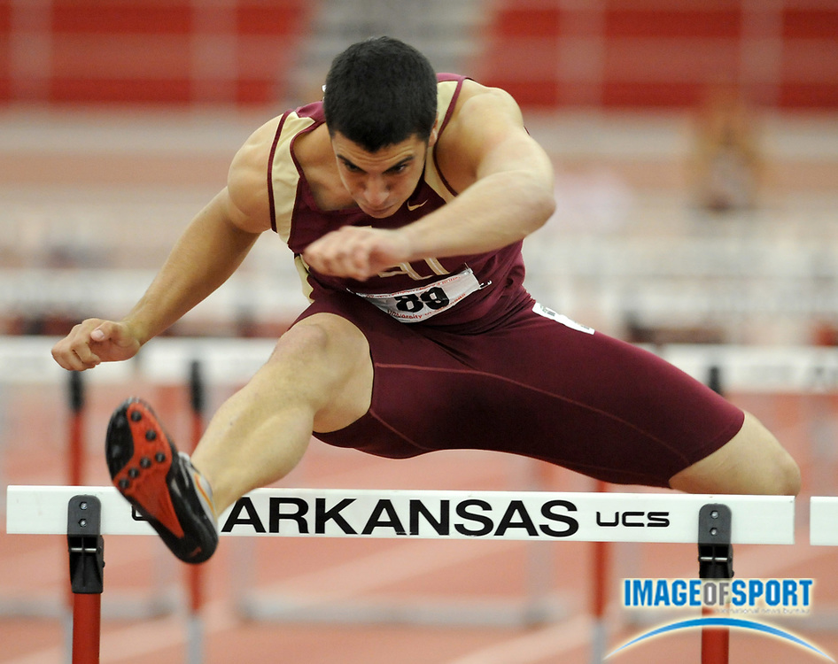 Mar 15, 2008; Fayetteville, AR, USA; Gonzalo Barriolhet of Florida State timed 7.19 in the heptathlon 60m hurdles for 816 points in the NCAA indoor track and field championships at the Randal Tyson Center. Barriolhet won with 5,951 points.