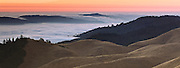 this is the top of mt. Tam with the fields of gold and being right next to the ocean, it's the perfect place to view the fog layers and capture them changing color and texture as the sun sinks into the fog