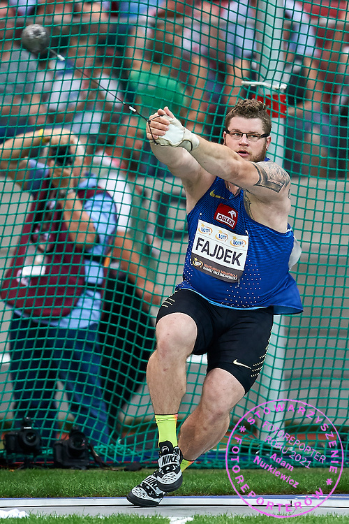 Warsaw, Poland - 2016 August 28: Pawel Fajdek from Poland competes in men's hammer throw competition during athletics meeting Kamila Skolimowska Memorial 2016 at PGE National Stadium  August 28, 2016 w Warsaw, Poland.<br /> <br /> Adam Nurkiewicz declares that he has no rights to the image of people at the photographs of his authorship.<br /> <br /> Picture also available in RAW (NEF) or TIFF format on special request.<br /> <br /> Any editorial, commercial or promotional use requires written permission from the author of image.<br /> <br /> Mandatory credit:<br /> Photo by &copy; Adam Nurkiewicz