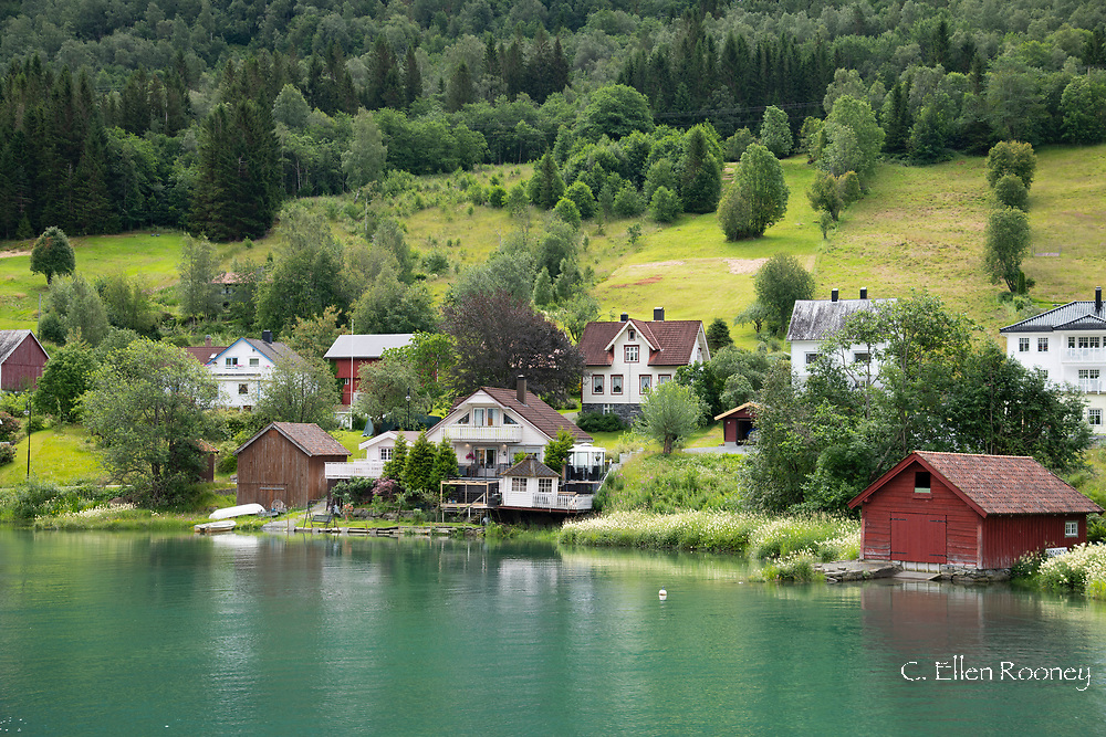 Traditional timber houses in Stryn on Nord Fjord Vestlandet, Norway