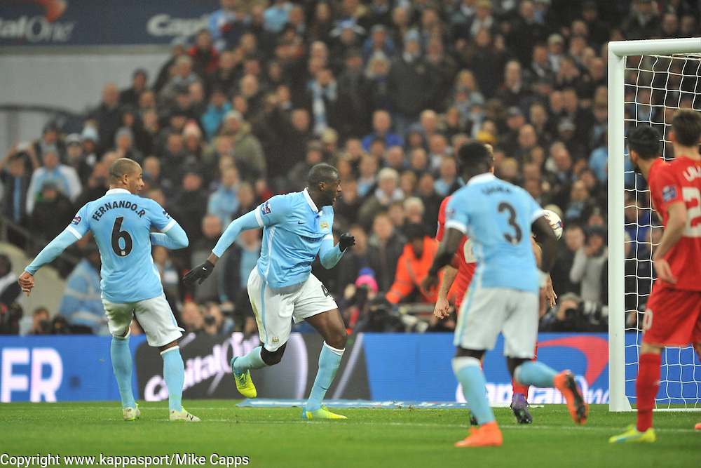 MANCHESTER CITY YAYA TOURE TRY A SHOT ON TARGET, Liverpool FC v Manchester City FC Capital One Cup Final, Wembley Stadium, Sunday 28th Febuary 2016