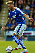 Chesterfield FC defender Daniel Jones controls the ball to ease the pressure during the Sky Bet League 1 match between Chesterfield and Burton Albion at the Proact stadium, Chesterfield, England on 26 September 2015. Photo by Aaron Lupton.