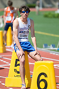 2011/05/28 - SUNY Fredonia's Nick Guarino prepares for the 800-meter final at the 2011 NCAA Division-3 Championships. Guarino won in 1:49.89, having already won the 1500-meter run in 3:53.43, just eighty minutes earlier. Guarino was the first Division-3 runner to win both events since Nick Symmonds in 2006.