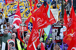© Licensed to London News Pictures. Public Sector Strike 30/11/2011. Birmingham, UK. Pictured, thousands of Union workers and those protesting against pension cuts took to the streets of Birmingham to take part in a peaceful march. Photo credit : Dave Warren/LNP