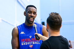 Rahpell Thomas-Edwards of Bristol Flyers is interviewed by local TV - Mandatory by-line: Robbie Stephenson/JMP - 17/09/2019 - BASKETBALL - SGS Arena - Bristol, England - Bristol Flyers Open Training Session