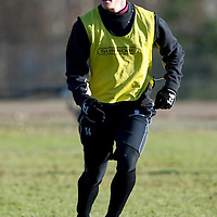 St Johnstone Training...29.01.10<br /> Kevin Moon in training this morning ahead of tomorrow's game against Hearts.<br /> see story by Gordon Bannerman Tel: 07729 865788<br /> Picture by Graeme Hart.<br /> Copyright Perthshire Picture Agency<br /> Tel: 01738 623350  Mobile: 07990 594431