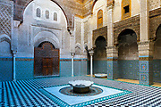 Al-Kairouine Mosque and University, Fez Medina, Morocco, 2018-02-02.<br /> <br /> Established at the very beginnings of Morocco's oldest imperial city, the University of Al-Karaouine (also written as Al-Quaraouiyine and Al-Qarawiyyin) was founded in 859 and is considered by Unesco and the Guinness Book of World Records to be the oldest continually operating university in the world.