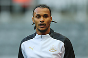 New Newcastle United signing Valentino Lazaro warms up ahead of the The FA Cup match between Newcastle United and Oxford United at St. James's Park, Newcastle, England on 25 January 2020.