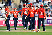 Wicket - England celebrates taking the final wicket of Hayley Jensen of New Zealand to win the match for England during the International T20 match between England Women Cricket and New Zealand at the Cooper Associates County Ground, Taunton, United Kingdom on 23 June 2018. Picture by Graham Hunt.