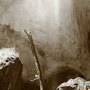 Mist of a waterfall mingled with sunlight, at Tonto Natural Bridge