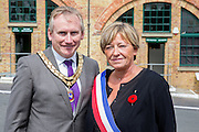 Steve Saunders, Mayor of Newhaven and Patricia Ridel, representative of the Mayor of Dieppe<br /> <br /> 74th Anniversary of the Dieppe Raid (19 August 1942) Memorial Service held at Newhaven Fort and the Canadian War Memorial. Attended by Veterans, dignitaries and guests. Organised by Canadian Veterans Association (Brighton Branch) and Newhaven Council.