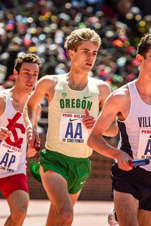 Penn Relays, College men 4 x mile relay, 3rd leg, Will Geoghegan, Oregon