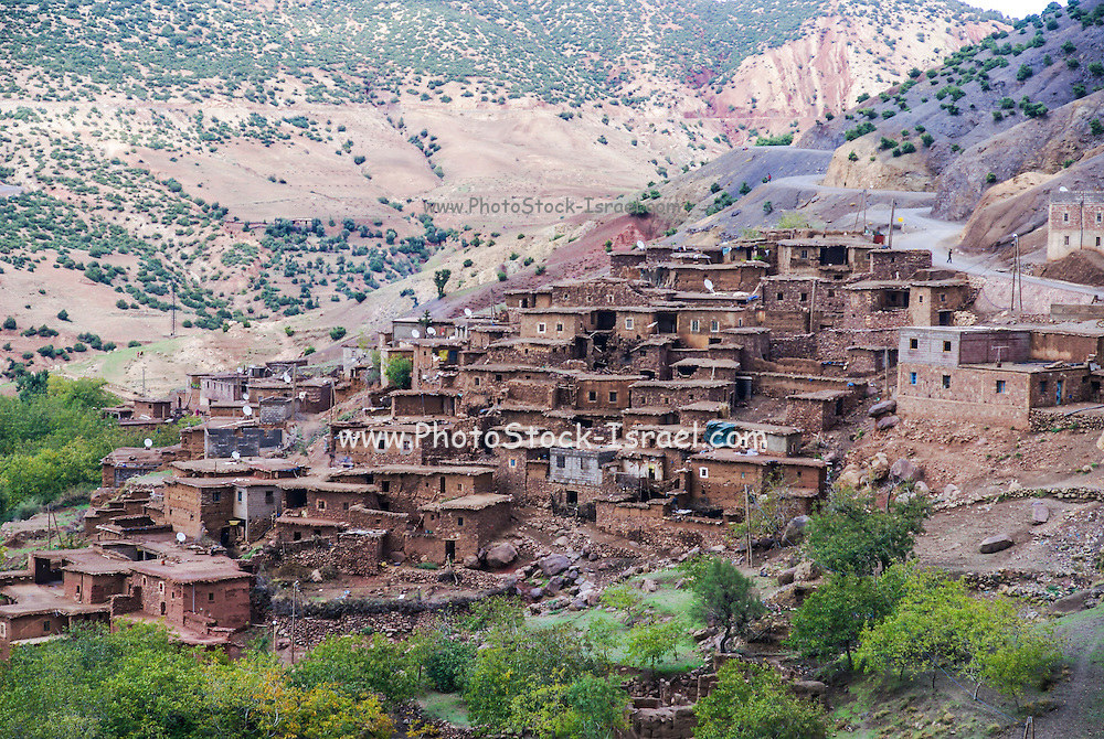 Berber village in the Ourika Valley in the High Atlas Mountains between Oukaimeden and Marrakech, Morocco