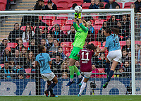 Football - 2019 SSE Women's FA Cup Final - Manchester City vs. West Ham United<br /> <br /> Anna Moorhouse (West Ham United) punches the cross clear ahead of Caroline Weir (Manchester City) at Wembley Stadium.<br /> <br /> COLORSPORT/DANIEL BEARHAM