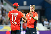 Wicket - David Willey of England celebrates taking the wicket of Andrew Tye of Australia during the International T20 match between England and Australia at Edgbaston, Birmingham, United Kingdom on 27 June 2018. Picture by Graham Hunt.