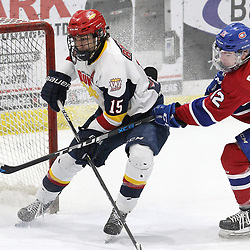 WELLINGTON, ON - FEBRUARY 9: Andrew Rinaldi #15 of the Wellington Dukes drives to the net defended by Troy Bowditch #12 during the first period on February 9, 2019 at Wellington and District Community Centre in Wellington, Ontario, Canada.<br /> (Photo by Tim Bates / OJHL Images)