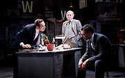 Ink <br /> by James Graham <br /> directed by Rupert Goold <br /> world premier <br /> at Almeida Theatre, London, Great Britain <br /> press photocall 26th June 2017 <br /> <br /> <br /> Bertie Carvel as Rupert Murdoch - front left <br /> <br /> Richard Coyle as Larry Lamb - front right <br /> <br /> Geoffrey Freshwater as Sir Alice McKay - front centre <br /> <br /> <br /> <br /> Photograph by Elliott Franks <br /> Image licensed to Elliott Franks Photography Services