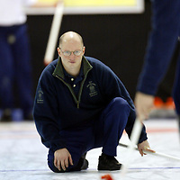Derek Brown, coach of the Scottish Curling team pictured during a training session at the Dewars Ice Arena in Perth.<br /><br />Picture by Graeme Hart.<br />Copyright Perthshire Picture Agency<br />Tel: 01738 623350  Mobile: 07990 594431